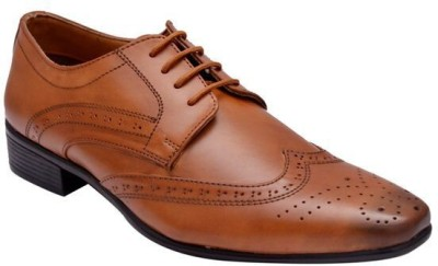 Hirels Tan Stylish Derby Brogues Lace Up Shoes(Tan)