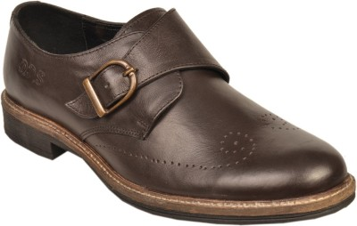 Leather Wood Monk Strap Shoes