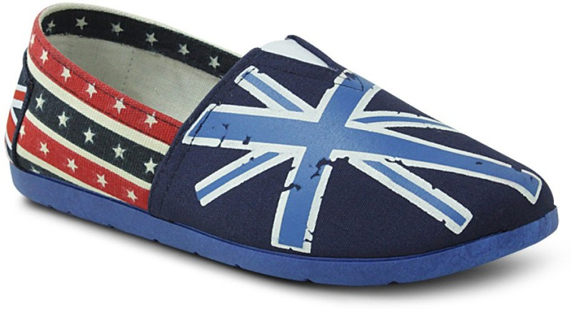 Get Glamr Britain Slip Ons Canvas Shoes(Blue)
