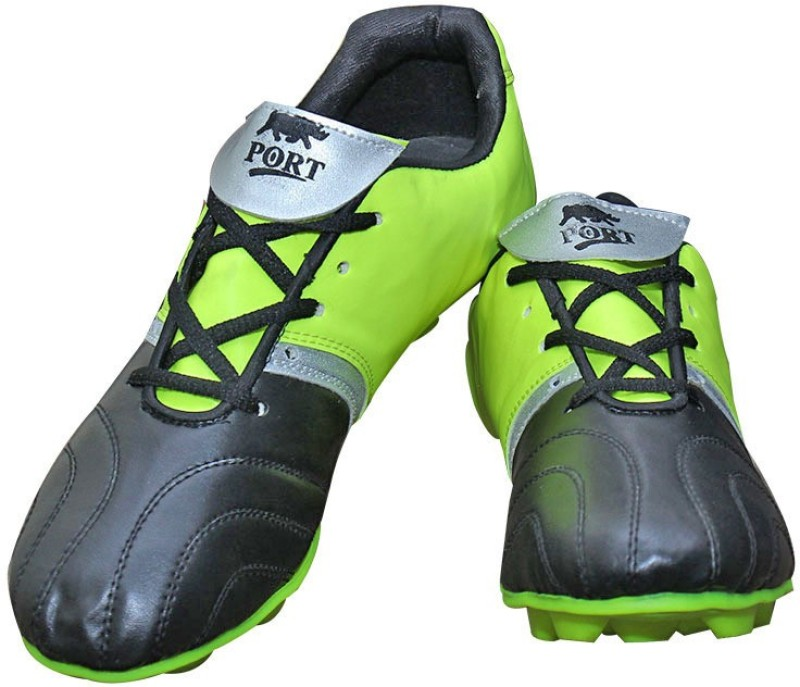 Port Cyber Neon Green Black Football Shoes(Green)