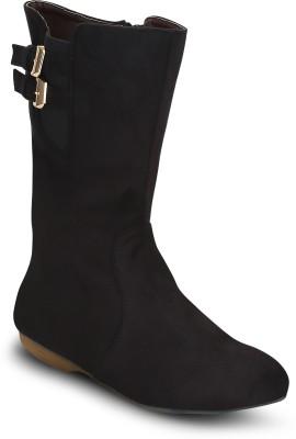 Kielz Ladies Black Suede Boots Boots(Black)