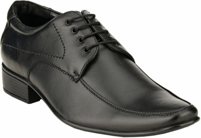 GAI Black Leather Formal Derby Lace Up Shoes