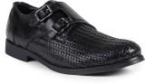 Shumael Black Leather Double Monk Shoes ...