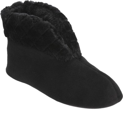 Dearfoams Dearfoams Velour Bootie Slipper with Quilted Pile Cuff Black Boots(Black)
