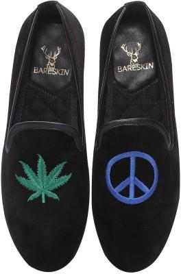 Bareskin Love & Peace Embroidered Black Velvet Slip On Shoe For Men Loafers(Black)