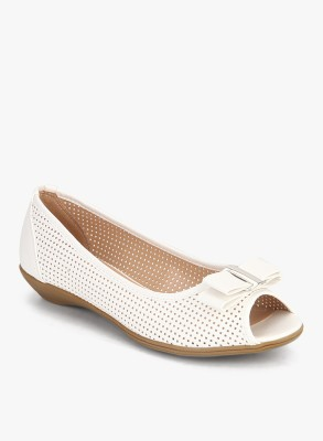 Addons Lucia Perforated Peep Toe Ballerinas Bellies