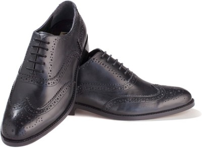Walker Styleways Classic Black Leather Brogue Lace Up Shoes