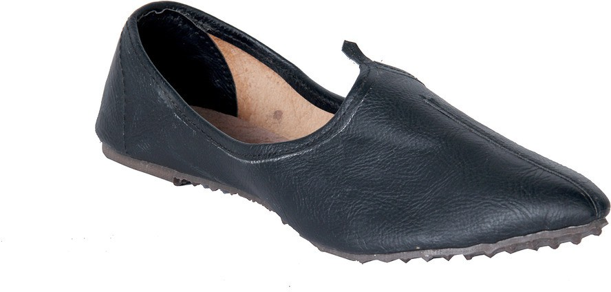 Panahi Black Synthetic Leather Slip On Jutis Casuals, Party Wear