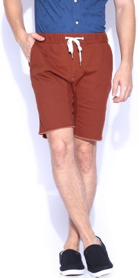 Quiksilver Solid Men,s Maroon Basic Shorts