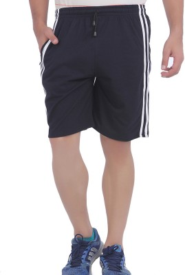 American Crew Striped, Solid Men's Black, White Basic Shorts