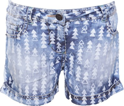 UFO Printed Girl's Light Blue Denim Shorts