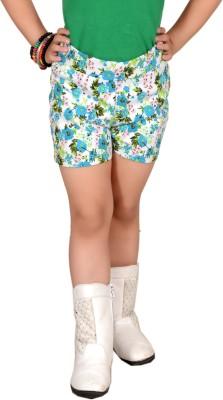 Pretty Angel Printed Girl's White, Green Chino Shorts
