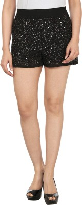 InDzone Embellished Women's Black Basic Shorts