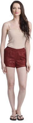 Today Fashion Solid Women,s Red Basic Shorts