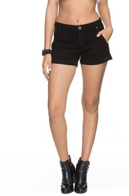 Tarama Solid Women's Black Denim Shorts