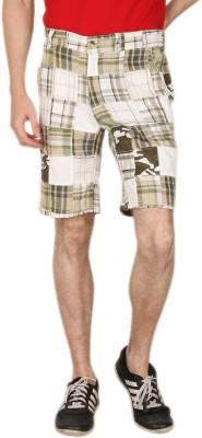 Blimey Checkered Men's Green, White Chino Shorts