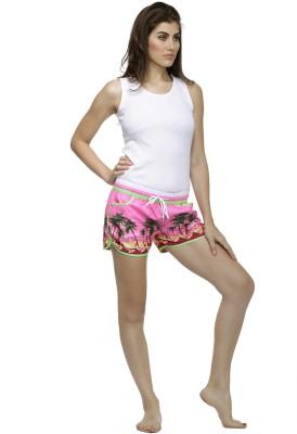 Heart 2 Heart Printed Women's Pink Beach Shorts