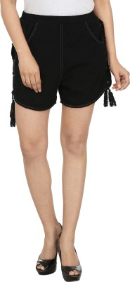 InDzone Solid Women's Denim Black Basic Shorts