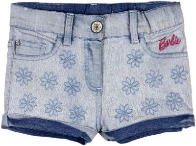 Barbie Floral Print Girl's Denim Blue Denim Shorts