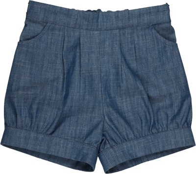 My Lil,Berry Solid Girl's Denim Blue Denim Shorts