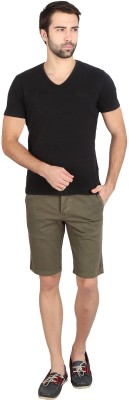 Caricature Solid Men's Green Basic Shorts