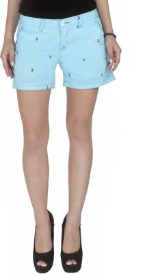 Imagica Printed Women's Light Blue Hotpants