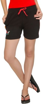 Red Ring Solid Women's Black Night Shorts