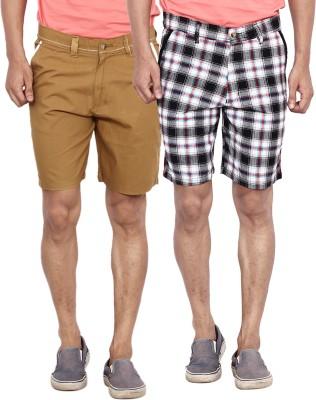 Calloway Solid Men's Beige, Grey, White Basic Shorts