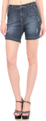 See Coral Solid Women's Denim Blue Denim Shorts