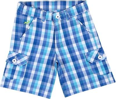Silver Streak Checkered Boy,s Blue Basic Shorts