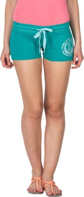 Lovable Solid Women's Green Basic Shorts