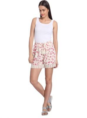 Vero Moda Printed Women's White Basic Shorts