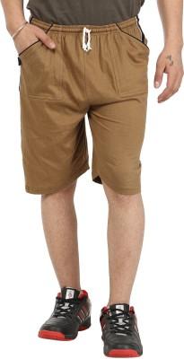 Gumber Solid Men's Brown Basic Shorts