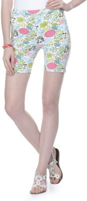 Lavennder Floral Print Women's White Basic Shorts
