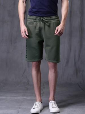 WROGN Solid Men's Green Basic Shorts