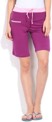 Happy Hours Solid Women's Purple Bermuda Shorts
