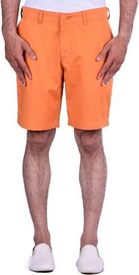 Cortos Solid Men's Orange Denim Shorts