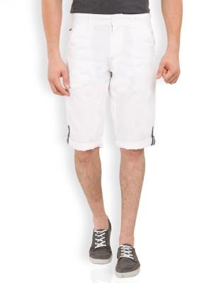 Locomotive Solid Men's White Bermuda Shorts