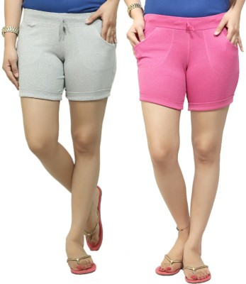 By The Way Solid Women's Grey, Pink Basic Shorts, Beach Shorts, Cycling Shorts, Night Shorts