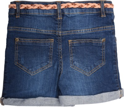 Coffee Bean Self Design Baby Girl's Dark Blue Denim Shorts