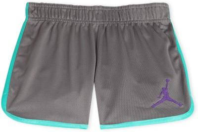 Jordan Kids Solid Girl's Grey Sports Shorts