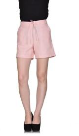 Rute Solid Women's Linen Pink Basic Shorts