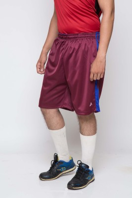 Acetone Solid Mens Maroon, Blue Running Shorts