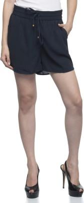One Femme Solid Women's Dark Blue Basic Shorts