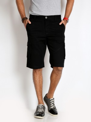 Rodid Solid Men's Black Cargo Shorts