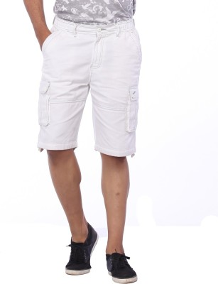 Bornfree Solid Men's White Cargo Shorts