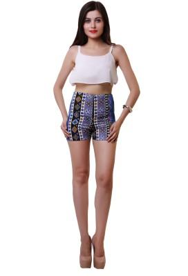 Belle Fille Printed Women,s Black Basic Shorts
