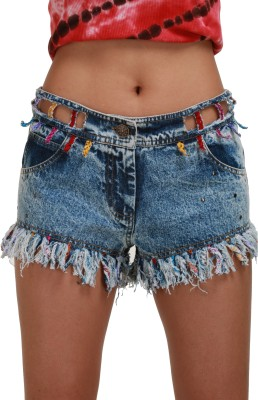 Its Hot Embellished Women's Denim Blue Hotpants