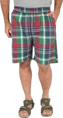 Cub Checkered Men's Red, Green Basic Shorts
