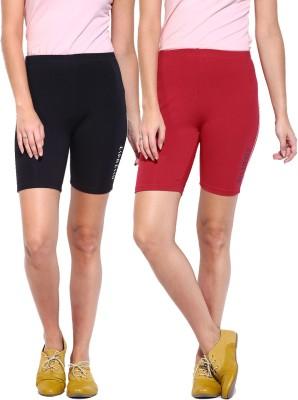 ESPRESSO Solid Women's Black, Red Basic Shorts